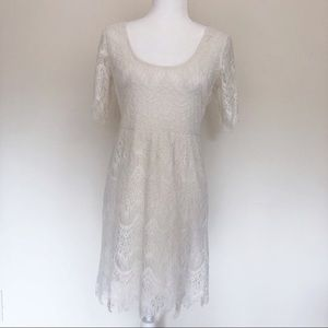 Anthropologie white lace dress size M